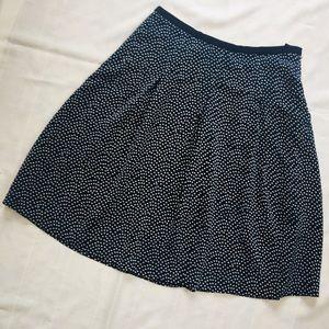 Pendleton Silk Navy Skirt with Polka Dots